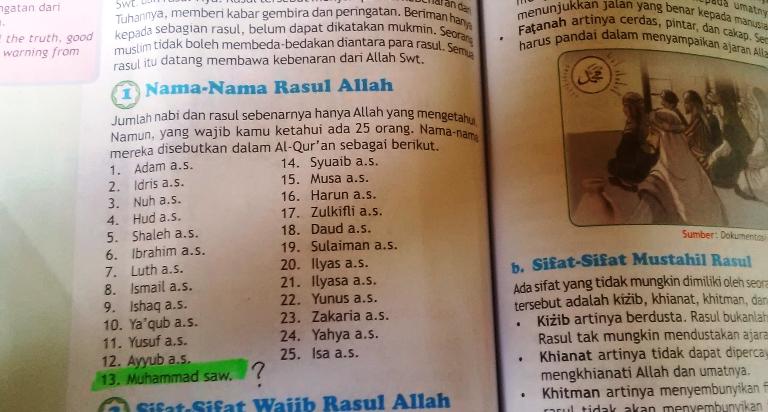 Waspada! Buku PAI Kelas 5 SD Sesat, Nabi Muhammad Jadi Urutan 13 dan Nabi Isa Jadi Urutan Terakhir (25)