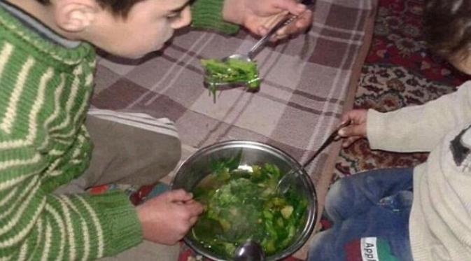 Kelaparan, Anak-anak Suriah Terpaksa Makan Rumput