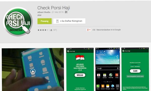 Aplikasi Cek Porsi Haji Sudah Aktif Kembali