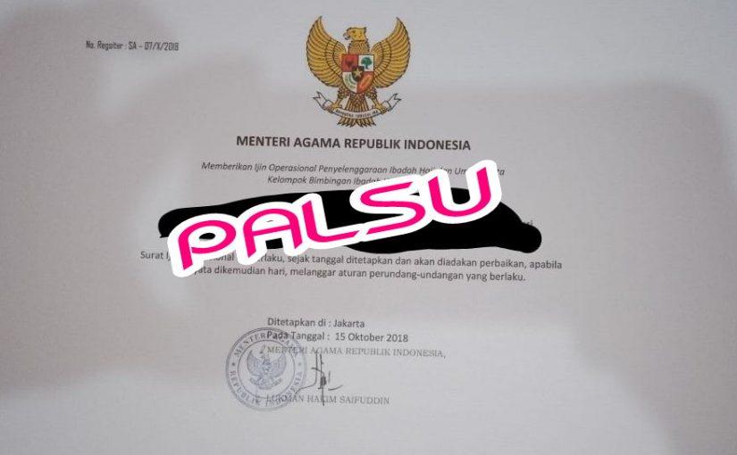 Tidak Benar Kemenag Keluarkan Sertifikat Perizinan PPIU