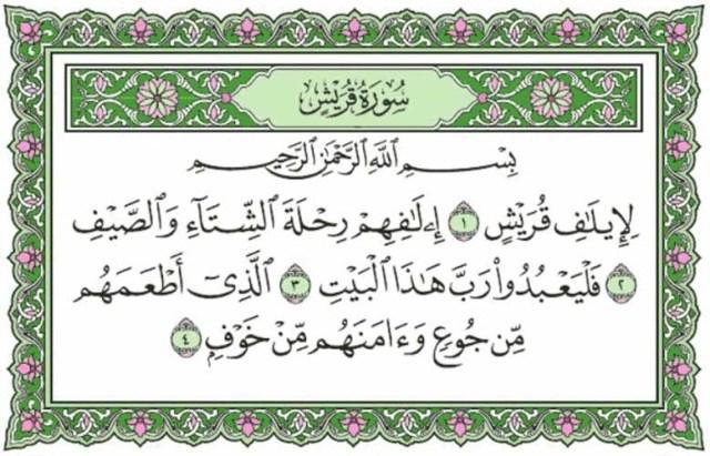Surat Quraisy beserta Artinya, Tafsir dan Asbabun Nuzul