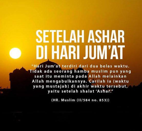 Doa Setelah Ashar di Hari Jumat